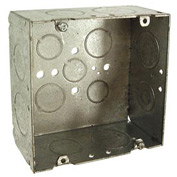 "Hubbell 265 Square Box 4-11/16"", 2-1/8"" Deep, 3/4"" & 1"" Side Knockouts, Welded - Pkg Qty 25"