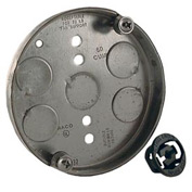 """Hubbell 295 Round Ceiling Fan Support Pan 4"""", 1/2"""" Deep, 1/2"""" Bottom Knockouts - Pkg Qty 10"""