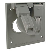 """Hubbell 5092-0 Two Gang Weatherproof Box Mount Cover (1) 1.406"""" Diameter - Pkg Qty 12"""