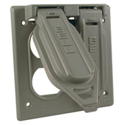 Hubbell 5096-0 Two Gang Weatherproof Box Mount Cover - (2) Duplex - Pkg Qty 12