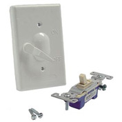 Hubbell 5121-1 Single Gang Weatherproof Vertical Mount Switch Cover Lever Switch White - Pkg Qty 24