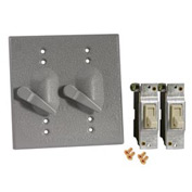 Hubbell 5124-0 Two Gang Weatherproof Device Mount Cover (2) Single Pole Switches - Pkg Qty 8