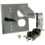 Hubbell 5166-5 Two Gang Weatherproof Device Mount Cover Duplex & Switch, Carded - Pkg Qty 4