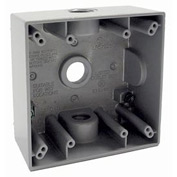 "Hubbell 5333-0 Two Gang Weatherproof Box 3-1/22"" Outlets Gray - Pkg Qty 12"
