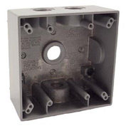 "Hubbell 5335-0 Two Gang Weatherproof Box 4-1/2"" Outlets Gray - Pkg Qty 12"