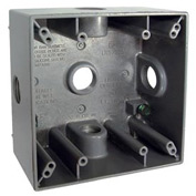 "Hubbell 5342-0 Two Gang Weatherproof Box 5-3/4"" Outlets, 32 Cubic In., Gray - Pkg Qty 12"