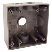 "Hubbell 5343-0 Two Gang Weatherproof Box 4-3/4"" Outlets Gray - Pkg Qty 12"