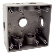 "Hubbell 5346-0 Two Gang Weatherproof Box 7-3/4"" Outlets, 31 Cubic In., Gray - Pkg Qty 12"