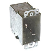 "Hubbell 590 Switch Box 3""X2"", 3-1/2"" Deep, Gangable, 1/2"" End Knockouts, W/Plaster Ears - Pkg Qty 50"