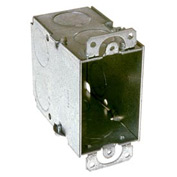 "Hubbell 591 Switch Box 3""X2"", 3-1/2"" Deep, Gangable, 3/4"" End Knockouts, W/Plaster Ears - Pkg Qty 50"