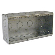 "Hubbell 693 Masonry Box, 4 Device, Non-Gangable, 2-1/2"" Deep, 1/2"" & 3/4"" End Knockouts - Pkg Qty 10"