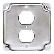 "Hubbell 902c 4"" Square Exposed Work Cover, 1 Duplex Receptacle - Pkg Qty 10"
