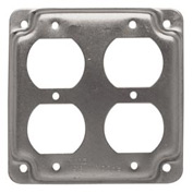 """Hubbell 907c 4"""" Square Exposed Work Cover, 2 Duplex Receptacles - Pkg Qty 10"""