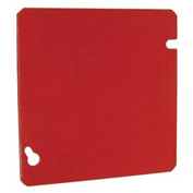 "Hubbell 911-11 4-11/16"" Square Box Cover, Painted Red, Flat Blank - Pkg Qty 50"
