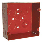 "Hubbell 911-12 Square Box 4-11/16"", 2-1/8"" Deep, Painted Red, 1/2"" & 3/4"" Side Knockouts - Pkg Qty 25"