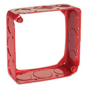 "Hubbell 911-6 Square Extension 4"", 1-1/2"" Deep, Painted Red, 1/2"" & 3/4"" Side Knockouts - Pkg Qty 50"