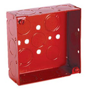 "Hubbell 911-9 Square Box 4"", 1-1/2"" Deep, Painted Red, 1/2"" & 3/4"" Side Knockouts, Welded - Pkg Qty 50"