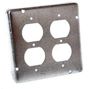 """Hubbell 979 4-11/16"""" Square Exposed Work Cover, 2 Duplex Receptacles - Pkg Qty 10"""