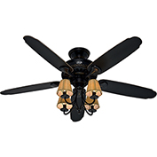 "Hunter Fan Cortland® 54"" Indoor Ceiling Fan 53095 - Basque Black with Brushed Gold Accents"