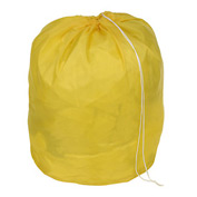 "27"" Drawcord Laundry Bag, Nylon, Yellow, Round Bottom - Pkg Qty 12"