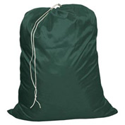 "15"" Drawcord Bag, Nylon, Green, Straight Bottom - Pkg Qty 12"