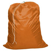 "18"" Drawcord Laundry Bag, Nylon, Orange, Straight Bottom - Pkg Qty 12"