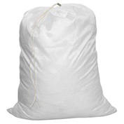 "18"" Drawcord Laundry Bag, Poly/Cotton, White, Straight Bottom - Pkg Qty 12"