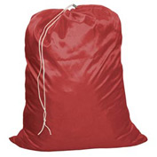 "25"" Drawcord Laundry Bag, Nylon, Red, Straight Bottom - Pkg Qty 12"