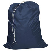 "27"" Drawcord Laundry Bag, Nylon, Blue, Straight Bottom - Pkg Qty 12"