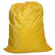 "27"" Drawcord Laundry Bag, Nylon, Yellow, Straight Bottom - Pkg Qty 12"