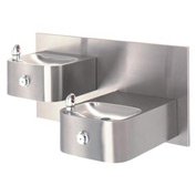 "Haws ""Hi-Lo"" Barrier-Free Wall Mounted 14G SS Drinking Fountain with Back Panel"