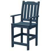 Highwood® Synthetic Wood Lehigh Counter Height Dining Chair With Arms, Nantucket Blue