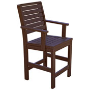 Highwood® Synthetic Wood Weatherly Counter Height Dining Chair With Arms, Weathered Acorn