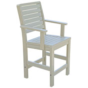 Highwood® Synthetic Wood Weatherly Counter Height Dining Chair With Arms, Whitewash
