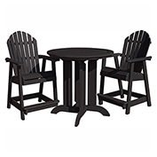 highwood® Hamilton 3pc Round Counter Dining Set, Black