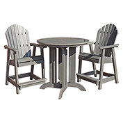 highwood® Hamilton 3pc Round Counter Dining Set, Coastal Teak