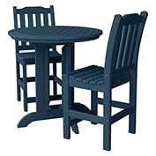 highwood® Lehigh 3pc Round Counter Dining Set, Nantucket Blue