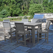 Highwood® Synthetic Wood 7 pc Counter Height Set, 36 X 72, w/ Weatherly Chairs, Coastal Teak