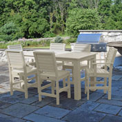 Highwood® Synthetic Wood 7 pc Counter Height Set, 36 X 72, w/ Weatherly Chairs, Whitewash