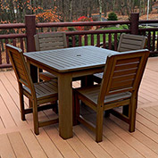 Highwood Synthetic Wood 5 pc Counter Height Set, 42 X 42 w/ Weatherly Chairs, Weathered Acorn