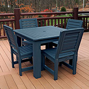 Highwood Synthetic Wood 5 pc Counter Height Set, 42 X 42 w/ Weatherly Chairs, Nantucket Blue