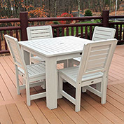 Highwood Synthetic Wood 5 pc Counter Height Set, 42 X 42 w/ Weatherly Chairs, Whitewash