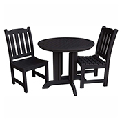 highwood® Lehigh 3pc Round Dining Set, Black
