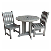highwood® Lehigh 3pc Round Dining Set, Coastal Teak