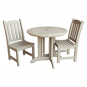 highwood® Lehigh 3pc Round Dining Set, Whitewash