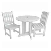 highwood® Lehigh 3pc Round Dining Set, White