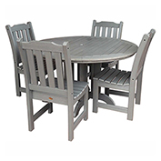 highwood® Lehigh 5pc Round Dining Set, Coastal Teak
