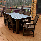 Highwood® Synthetic Wood 7 pc Set, 36 x 72 Table w/ Weatherly Chairs, Weathered Acorn