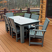 Highwood® Synthetic Wood 7 pc Set, 36 x 72 Table w/ Weatherly Chairs, Coastal Teak