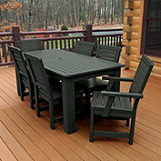Highwood® Synthetic Wood 7 pc Set, 36 x 72 Table w/ Weatherly Chairs, Charleston Green